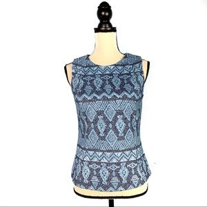 J. McLaughlin Blue Maya Jacquard Keyhole Back Top